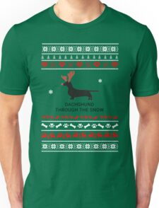 dachshund in snow Unisex T-Shirt