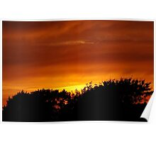 Sunset over Tolvaddon in Cornwall. Poster