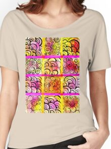 Painted Squares Art with Ornament Women's Relaxed Fit T-Shirt
