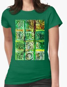 Painted Squares Art with Ornament 2 Womens Fitted T-Shirt