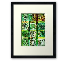 Painted Squares Art with Ornament 2 Framed Print