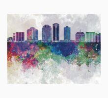 Long Beach V2 skyline in watercolor background Kids Tee