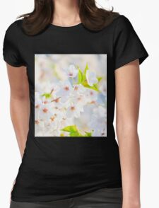 White Blossoms Womens Fitted T-Shirt