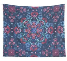Cherry Red & Navy Blue Watercolor Floral Pattern Wall Tapestry