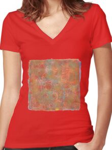 Gelatin Monoprint 19 Women's Fitted V-Neck T-Shirt