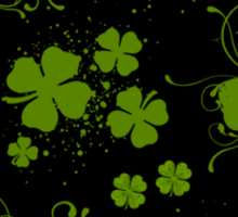 Saint Patrick's Day, Swirls, Heart - Black Green Sticker