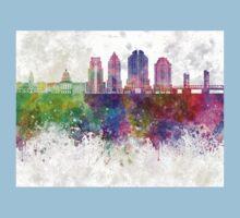 Sacramento V2 skyline in watercolor background One Piece - Short Sleeve
