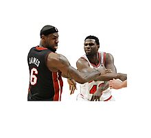 Lebron James getting hit Photographic Print