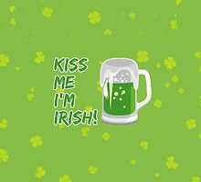 Kiss Me I'm Irish, Beer Stein, Clovers - Green by sitnica