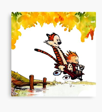 Play on lake Calvin and Hobbes Canvas Print