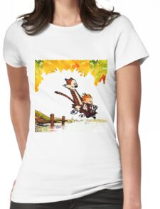 Play on lake Calvin and Hobbes Womens Fitted T-Shirt
