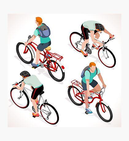 Teen Boys Cycling Isometric Photographic Print