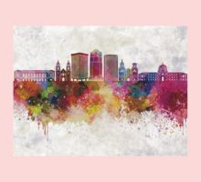 Tucson V2 skyline in watercolor background One Piece - Long Sleeve
