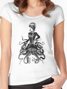 Victorian Lady Squid Women's Fitted Scoop T-Shirt