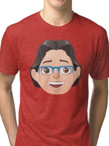 Caricature Head #3 - Long Black Haired Man w/ Blue Glasses Tri-blend T-Shirt