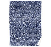 Detailed Floral Pattern in White on Navy Poster