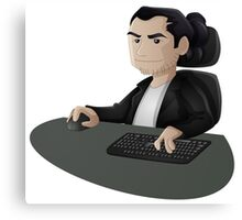 Computer Man Caricature #2 - Long Black Haired Man Canvas Print