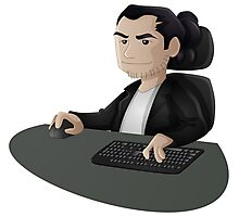 Computer Man Caricature #2 - Long Black Haired Man Photographic Print