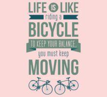 Life is Like Riding a Bicycle - Motivational Biking Cycling T shirt Kids Tee