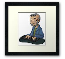 Computer Man Caricature #3 - Old Teacher with Glasses Framed Print