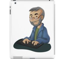 Computer Man Caricature #3 - Old Teacher with Glasses iPad Case/Skin