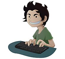 Computer Man Caricature #4 - Young Teen Kid Photographic Print