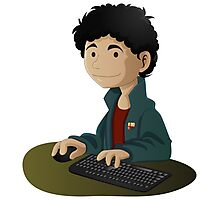 Computer Man Caricature #6 - Curly Black Haired Kid Photographic Print