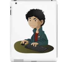 Computer Man Caricature #6 - Curly Black Haired Kid iPad Case/Skin
