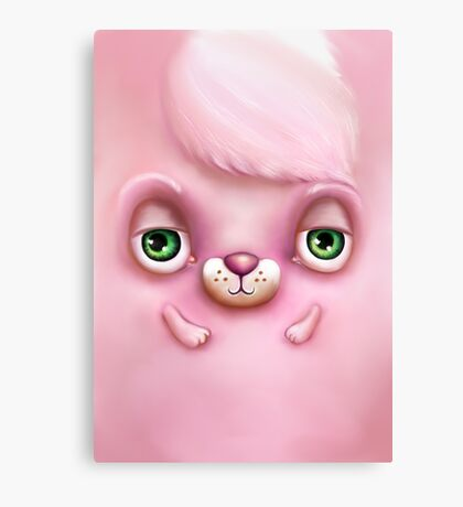 Cute Fluffy Monster in Pink Canvas Print