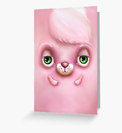 Cute Fluffy Monster in Pink Greeting Card