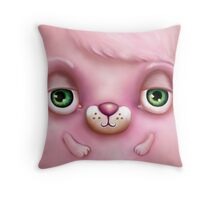 Cute Fluffy Monster in Pink Throw Pillow