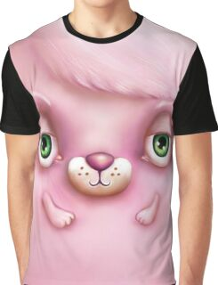 Cute Fluffy Monster in Pink Graphic T-Shirt