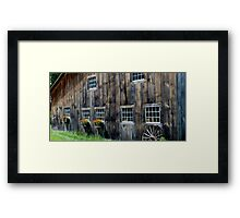 Window box flower color add style to aged wood Framed Print