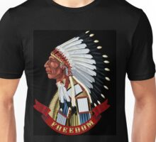 Freedom Native American Indian old profile war bonnet. Unisex T-Shirt
