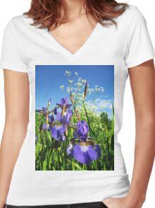 Summer Irises Women's Fitted V-Neck T-Shirt