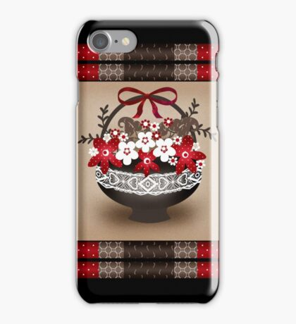 Patchwork modern elements with flowers basket retro spring iPhone Case/Skin