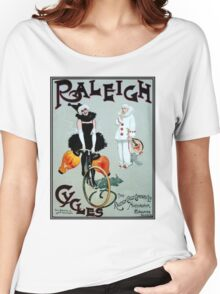 RALEIGH CYCLES; Vintage Bicycle Advertising Print Women's Relaxed Fit T-Shirt