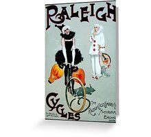 RALEIGH CYCLES; Vintage Bicycle Advertising Print Greeting Card