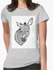 Graphic Zebra Illustration Womens Fitted T-Shirt