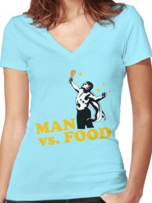 Man vs. food Women's Fitted V-Neck T-Shirt