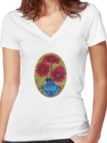 Blue vase with flowers/ still life  Women's Fitted V-Neck T-Shirt