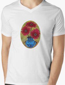 Blue vase with flowers/ still life  Mens V-Neck T-Shirt