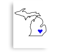 Michigan Love - Blue  Canvas Print