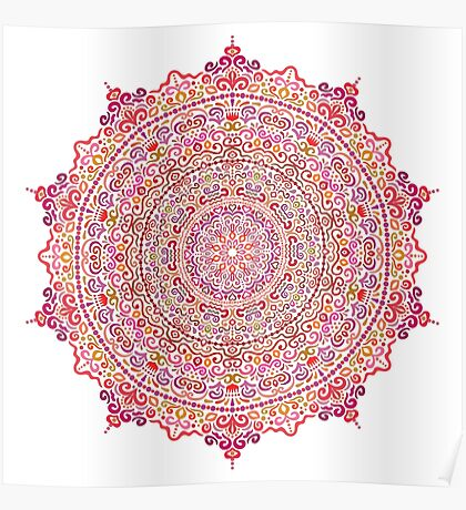Super Intricate Mandala with curly elements Poster