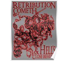 REVENGE, Four Horsemen of the Apocalypse, Durer, Retribution Cometh & Hell's Close behind! Biblical, Bible, Red Shadow on White Poster