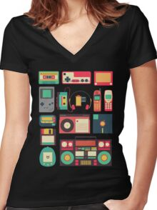 Retro Technology Women's Fitted V-Neck T-Shirt