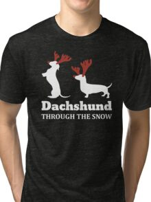Dachshund Through The Snow Christmas T-shirt Tri-blend T-Shirt