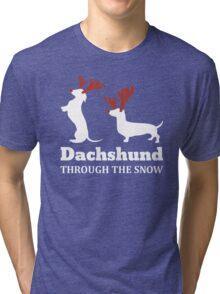 Dachshund Through The Snow Christmas T-shirt Tri-blend T-Shirt