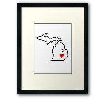 Michigan Love - Red Framed Print