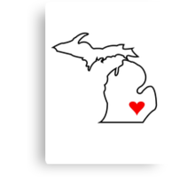 Michigan Love - Red Canvas Print